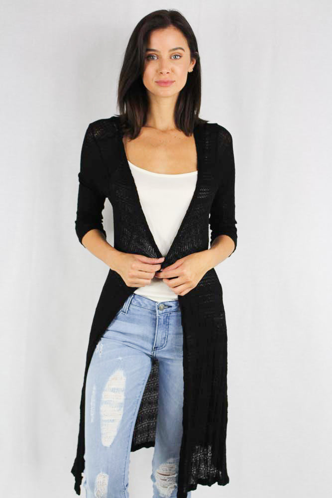 long sleeve black crochet maxi cardigan