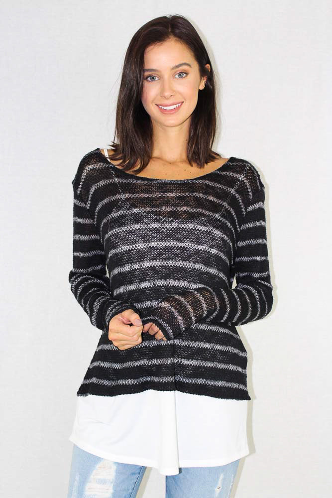 Women's Long Sleeve  Striped Sheer Knitted Top