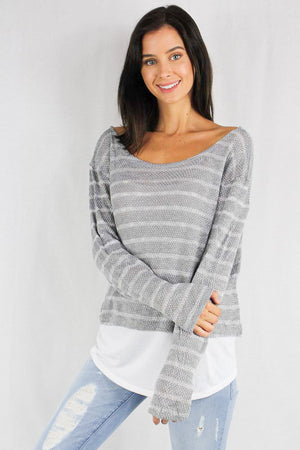 Women's long sleeve striped sweater