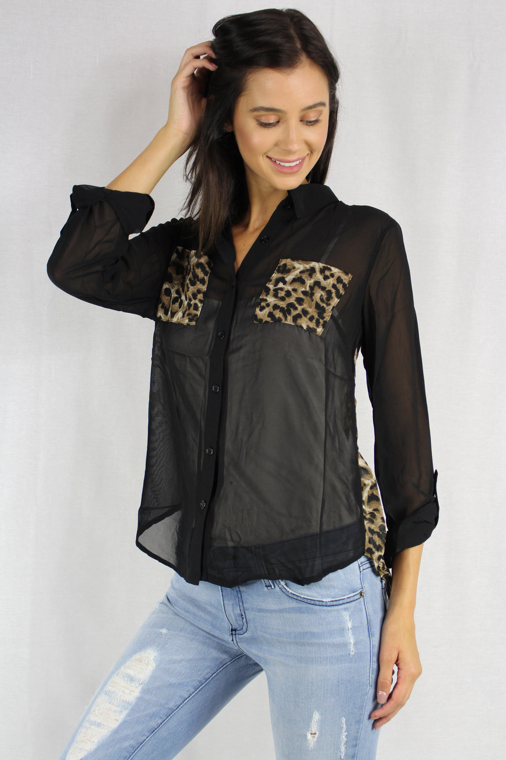 long sleeve sheer collard leopard print detailed top