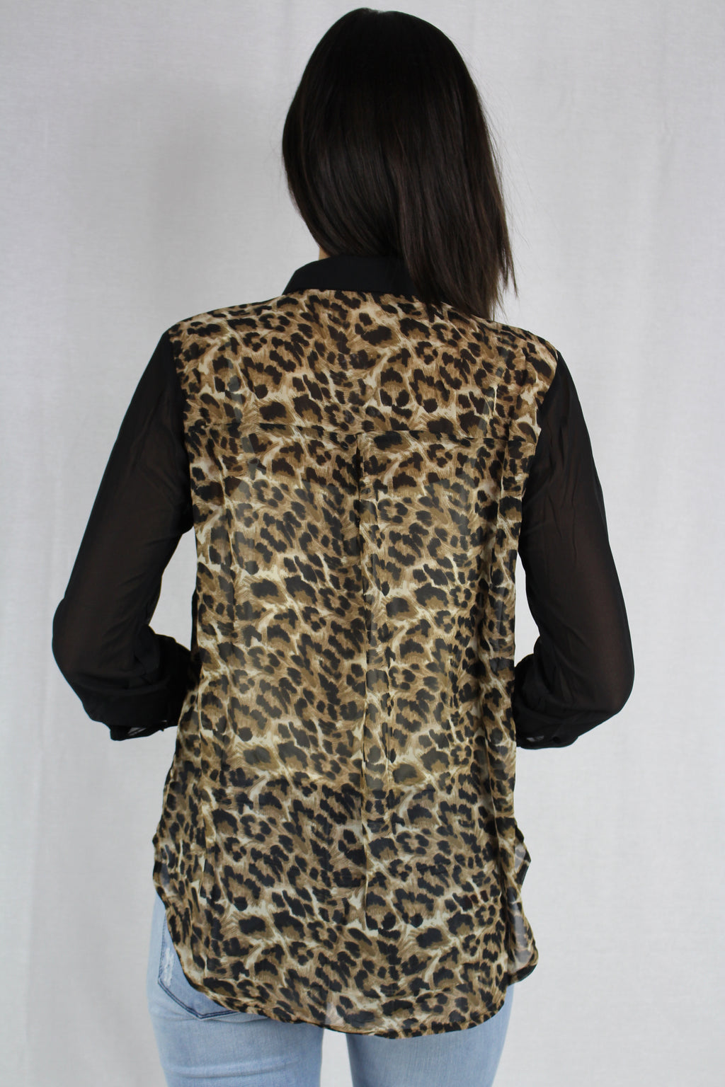 Women's Long Sleeve Sheer Collard Leopard Print Top
