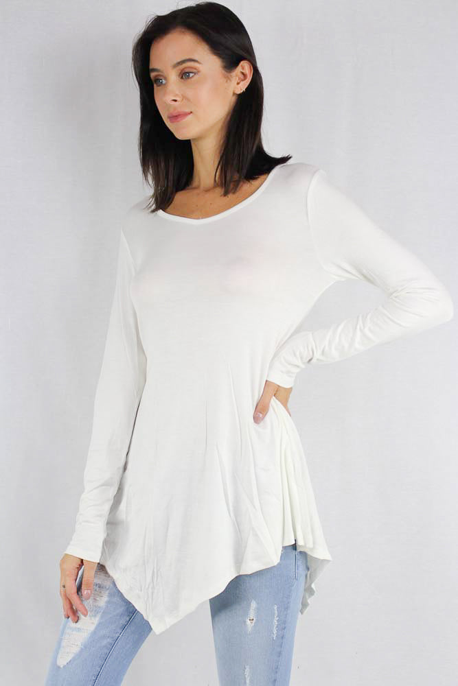 long sleeve v neck top with asymmetric hemline