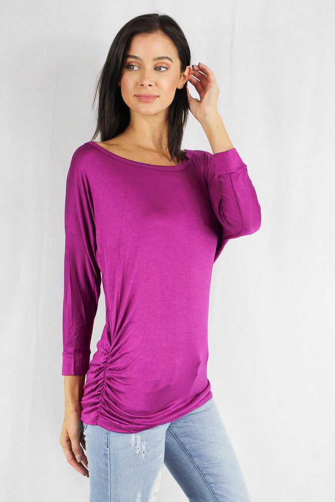 long sleeve fitted scoop neck top