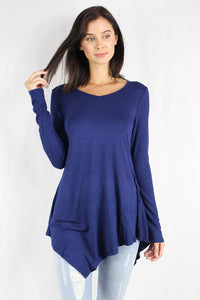 long sleeve top with asymmetric hemline