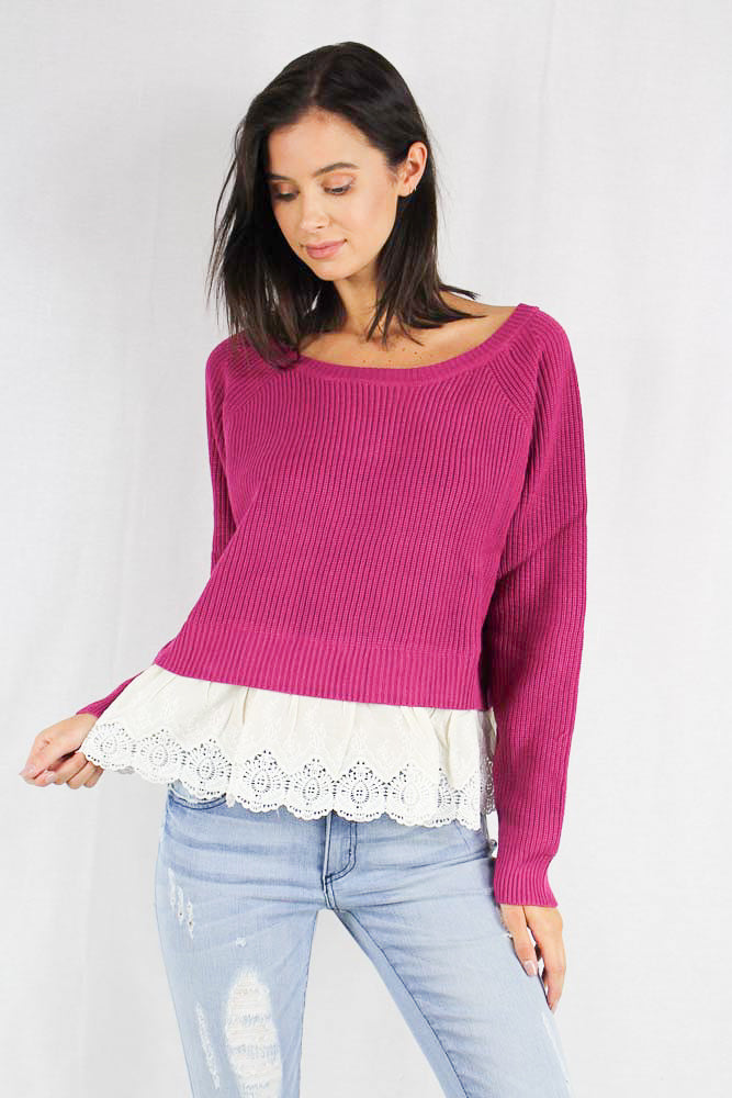 long sleeve knit sweater top with layered lace details