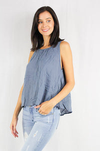 sleeveless scoop neck blouse