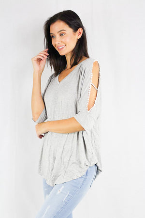 women's half sleeve cold shoulder top