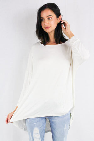 Long sleeve relaxed fit hi-low top