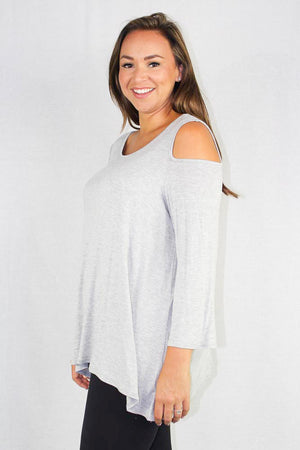 plus size long sleeve cold shoulder top