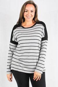 plus size long sleeve striped ribbed top