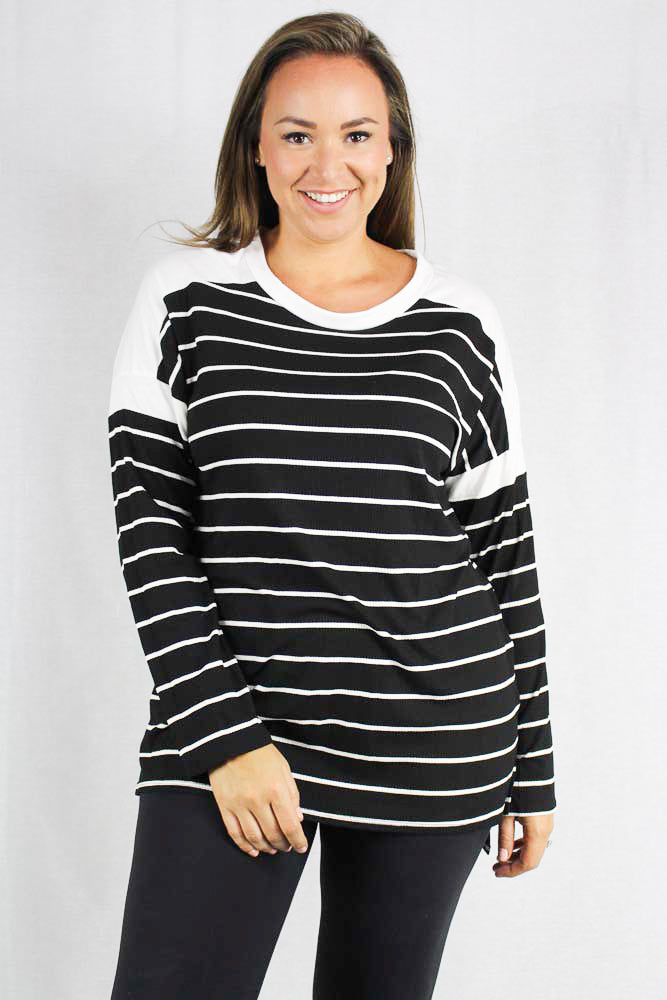 plus size long sleeve striped ribbed top (NU)