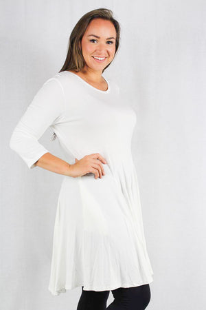 plus size long sleeve a-line tunic top