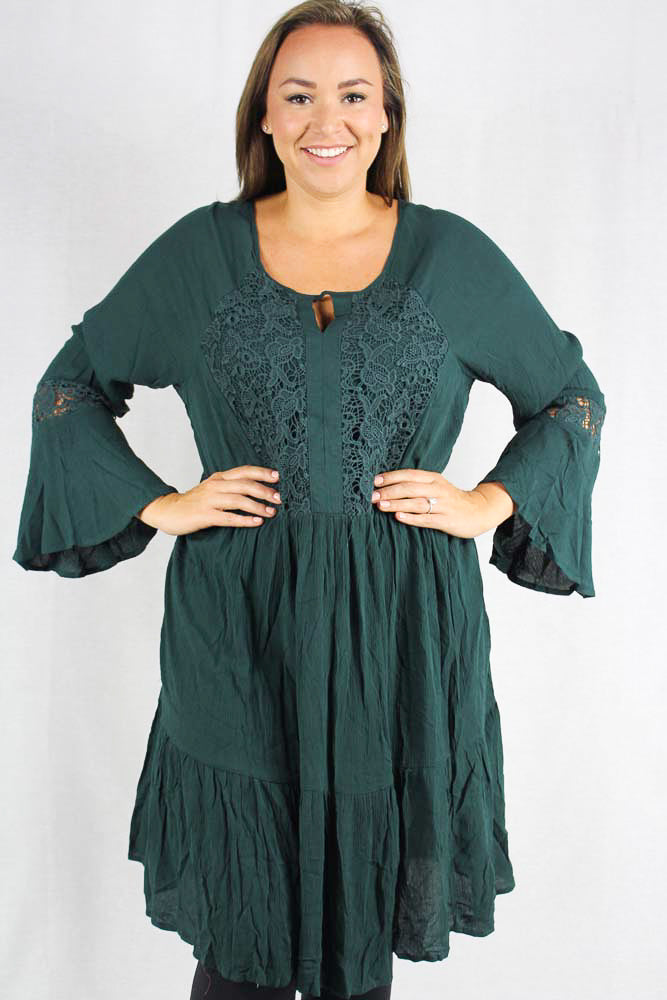 long sleeve hunter green dress with crochet details