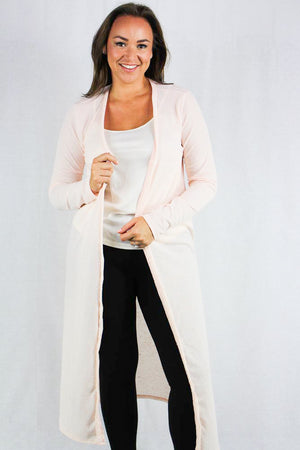 Plus size long sleeve maxi knit cardigan