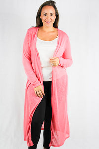 Plus size long sleeve maxi  cardigan