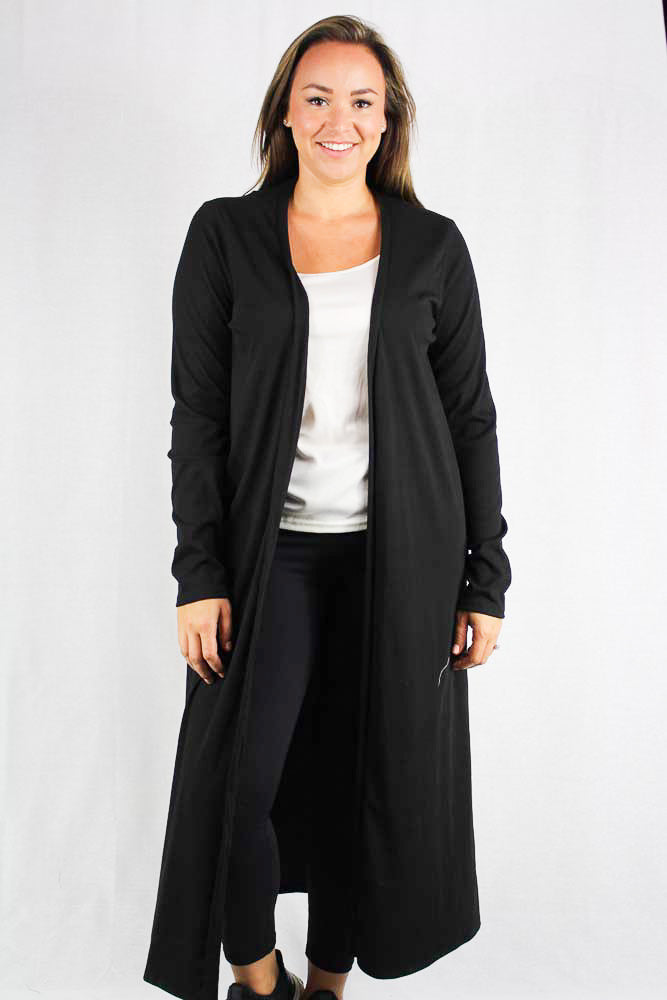 Plus size long sleeve maxi ribbed cardigan