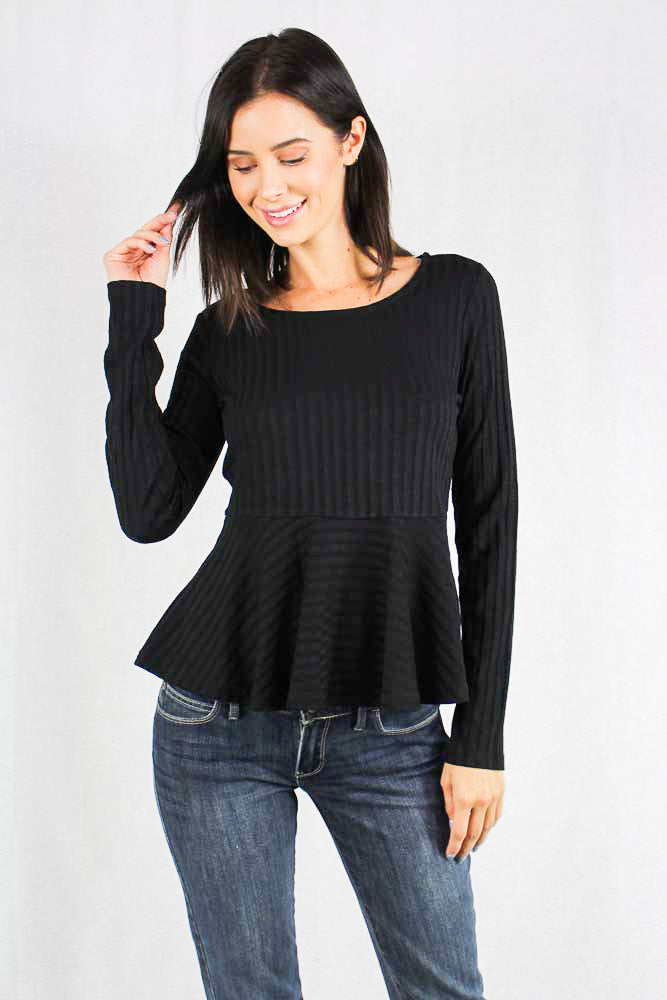 Women's Long Sleeve Ribbed Peplum Top