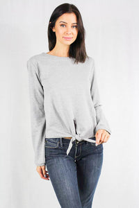 long sleeve crew neck sweater with wast tie