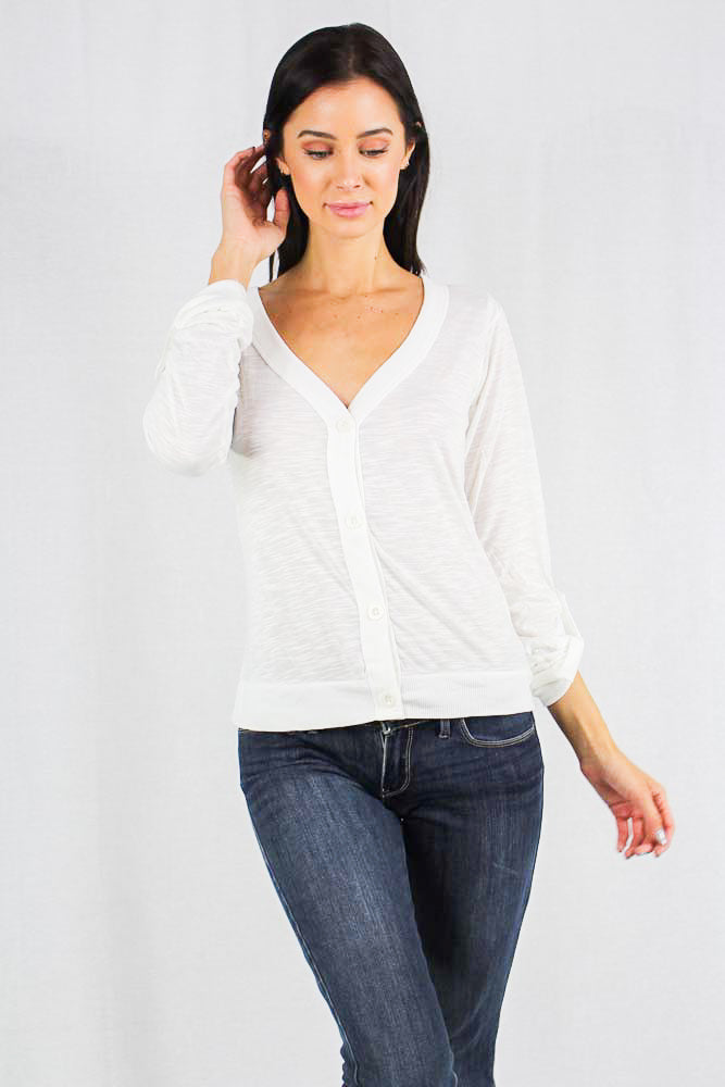 long sleeve button up burn out top