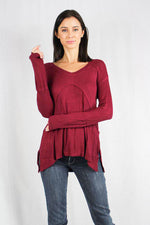 Women's Long Sleeve Waffle Knit V Neck Top
