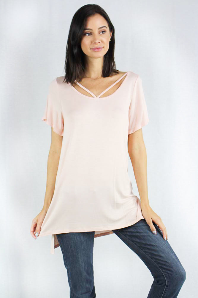 Short Sleeve Relaxed Fit Top with Crossed V Neck Strap