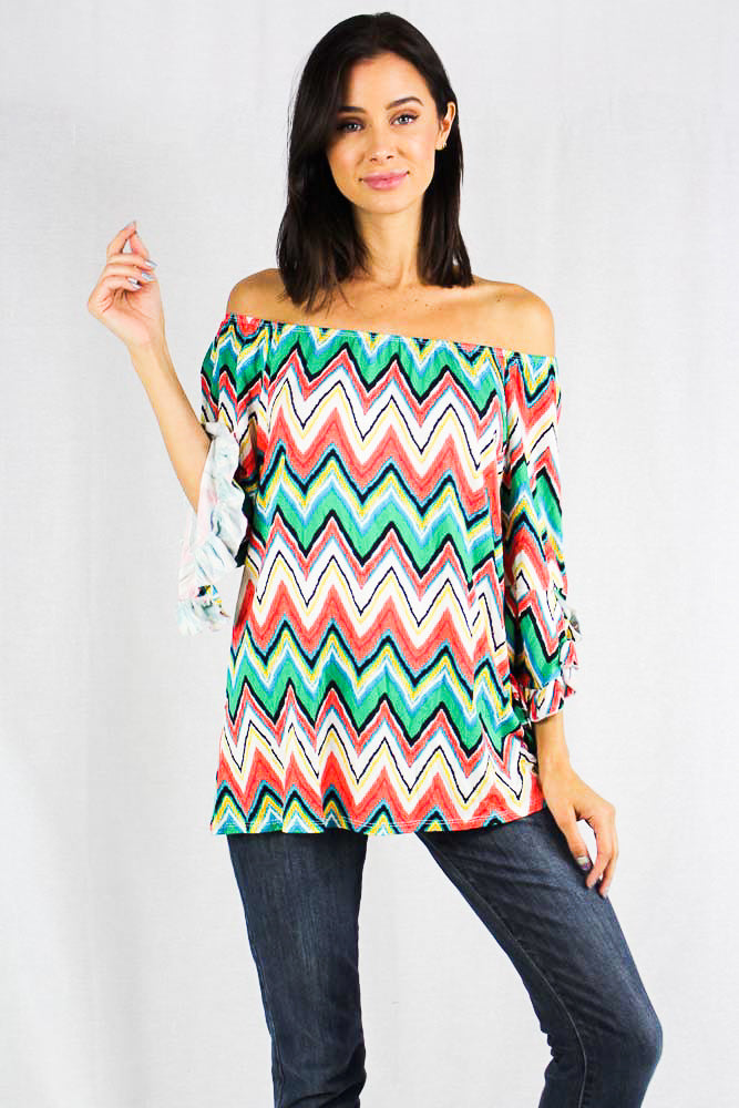 multi colored 3/4th sleeve top