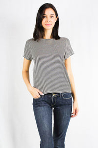 short sleeve striped crew neck top with open back