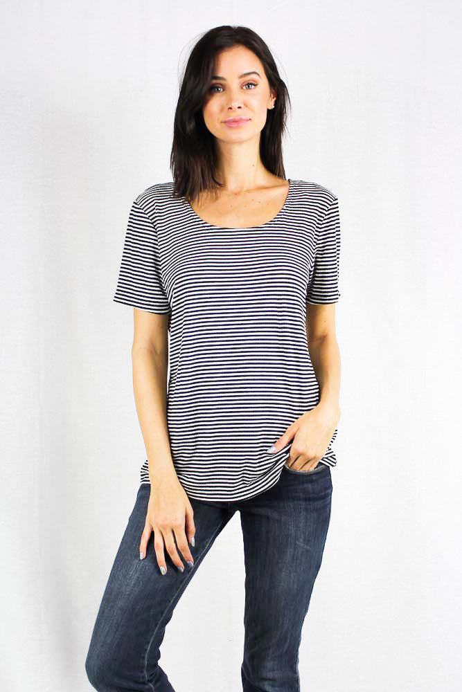 short sleeve striped scoop neck top