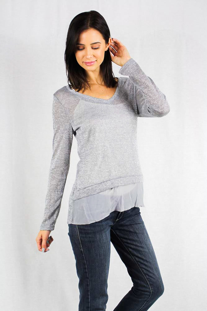 long sleeve metallic grey sweater top