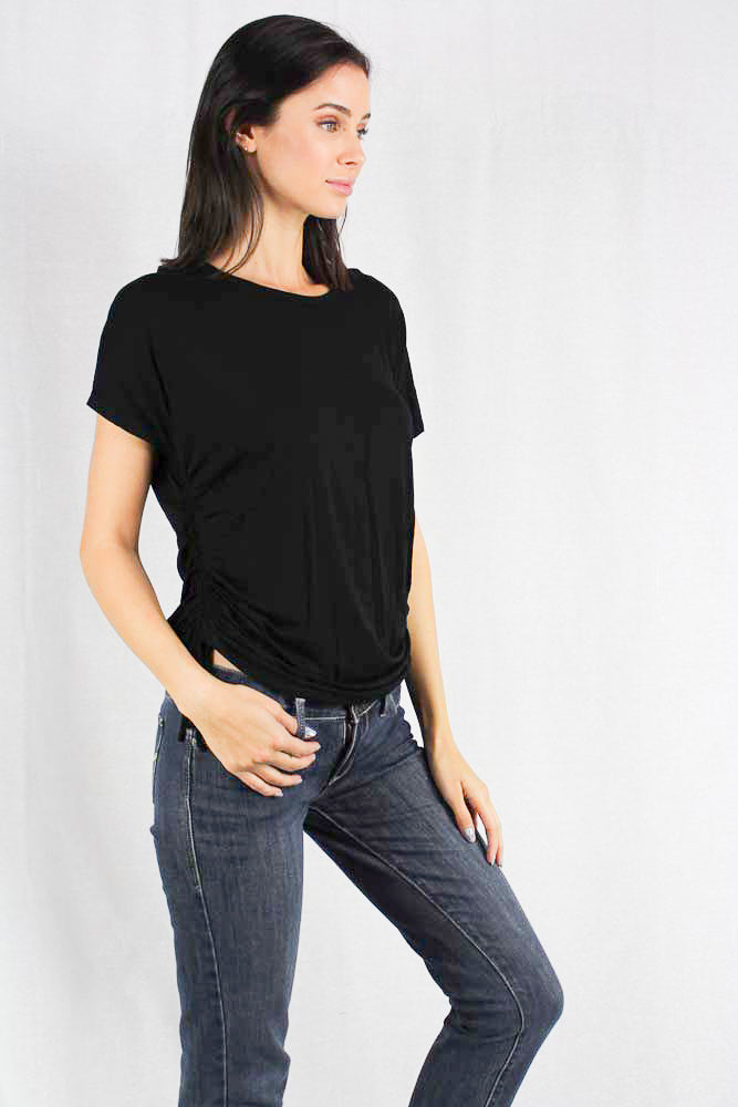 short sleeve round neck top with side roushing