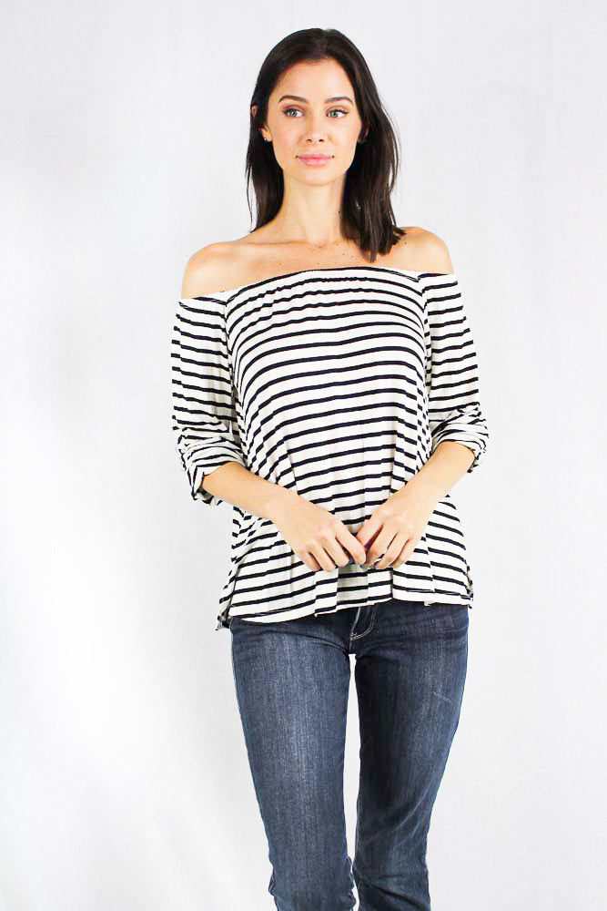 off shoulder  striped 3/4th sleeve top