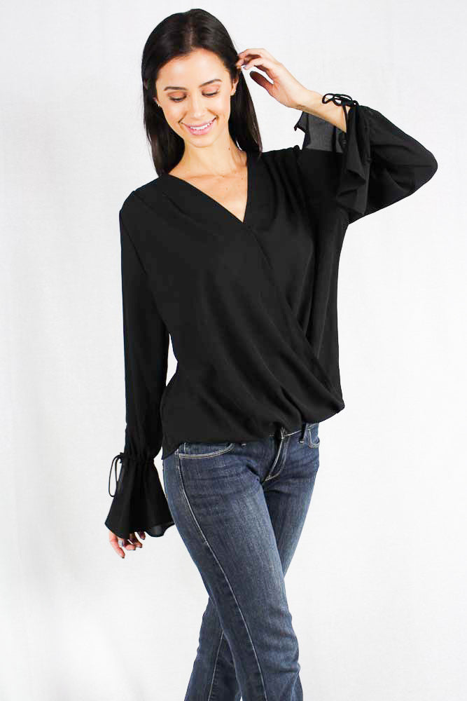 long sleeve chiffon bell sleeve top
