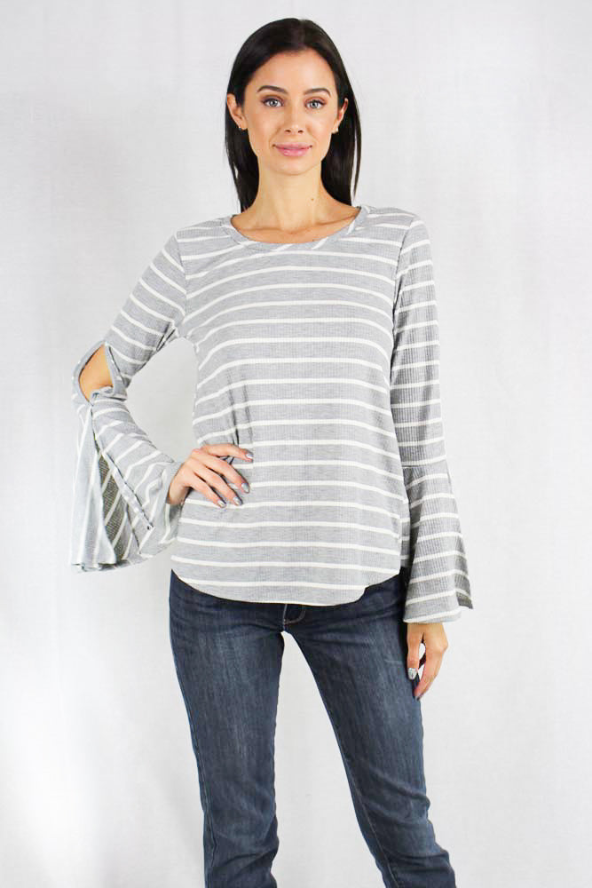 long sleeve grey striped bell sleeve top