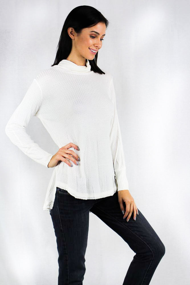 long sleeve waffle knit turtle neck top