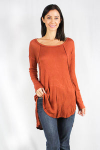 long sleeve waffle knit hi low tunic