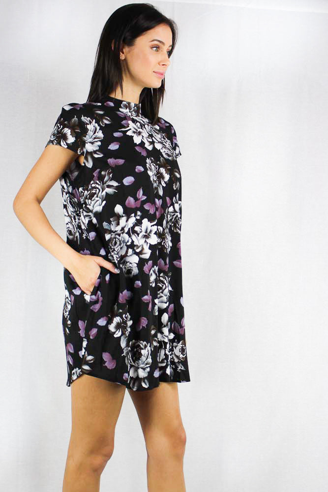 short sleeve floral print mock neck tunic dress