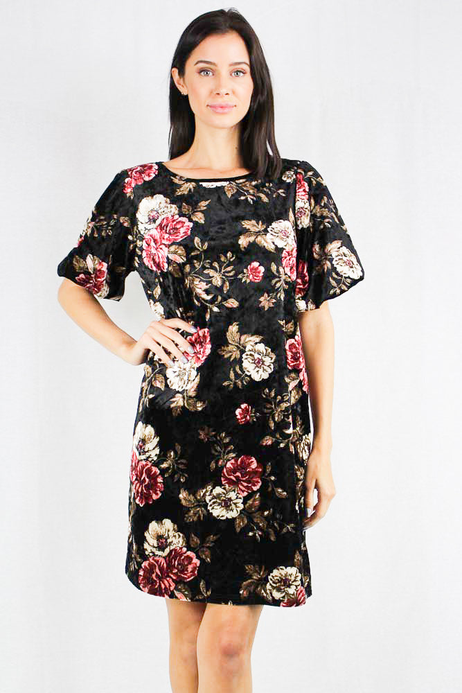 black short sleeve crushed velvet floral print tunic dress