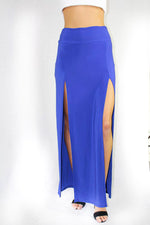 high waist  high slit maxi skirt