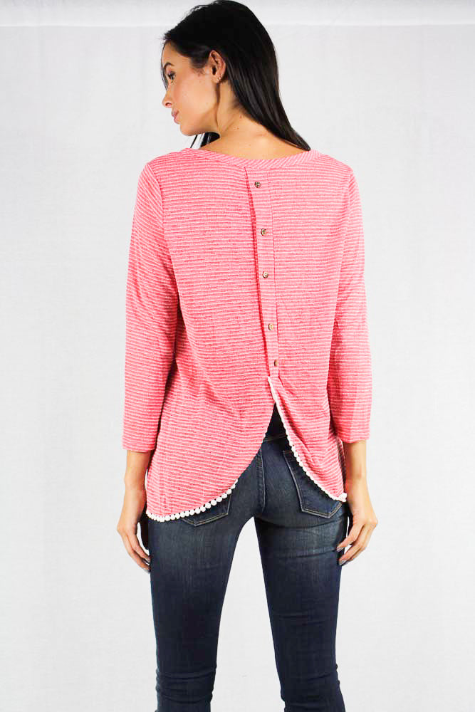 striped long sleeve knit top with back buttons