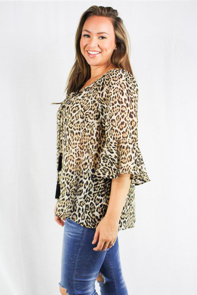 plus size 3/4th sleeve cheetah print chiffon top