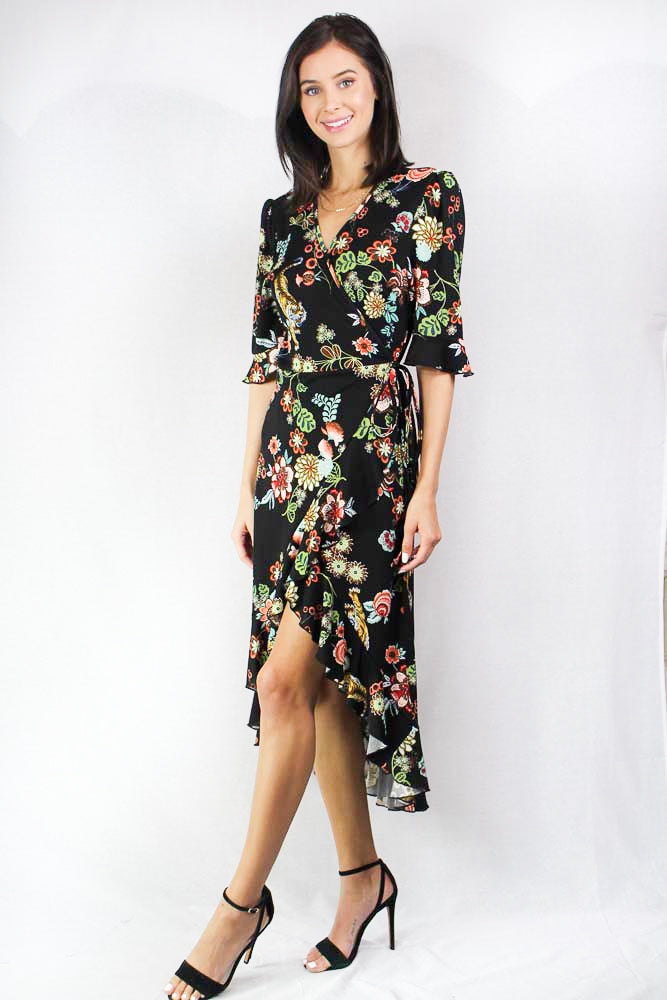 3/4th sleeve floral wrap dress with a v neckline