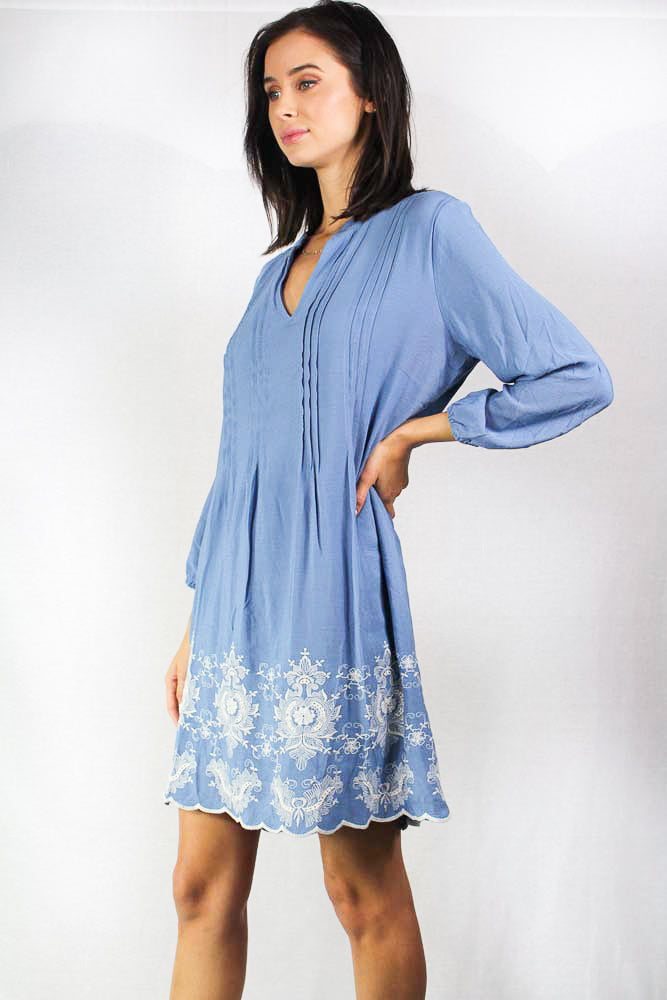 long sleeve floral embroidered shift dress