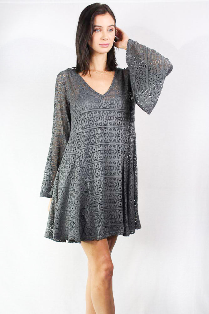 V Neck Bell Sleeve Lace Dress