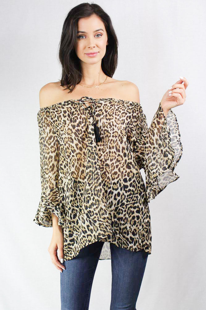 3/4th sleeve animal print top with tassel tie