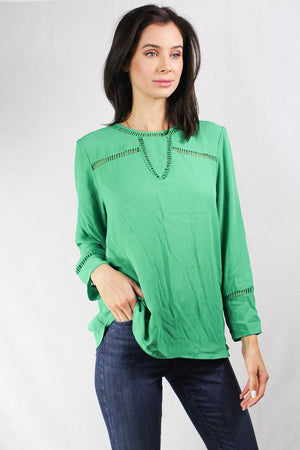 long sleeve green scoop neck blouse