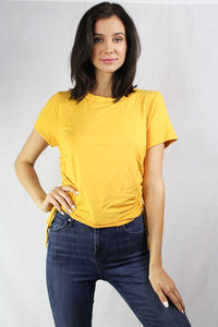 short sleeve top with side roushing details