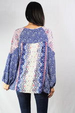 long sleeve floral detailed peasant blouse