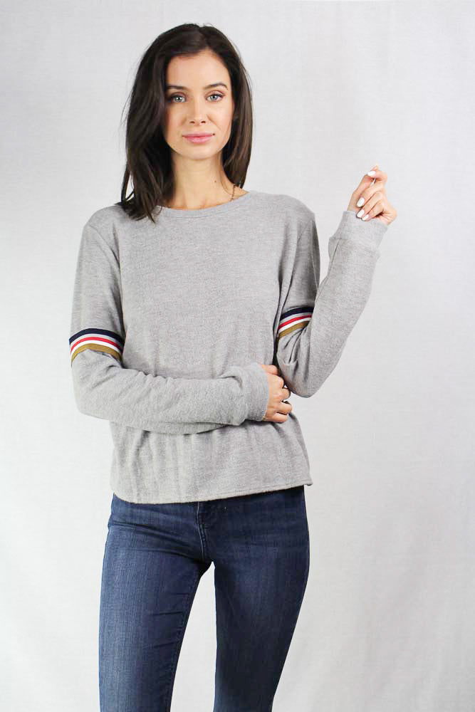 long sleeve crew neck top with stripe details