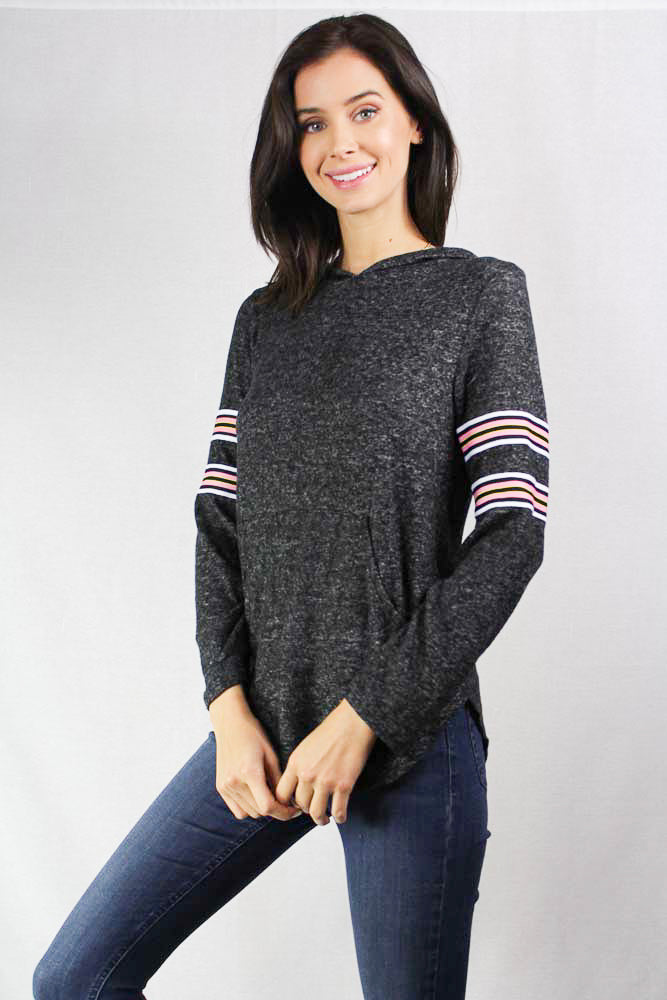 log sleeve hooded knit top with stripe details