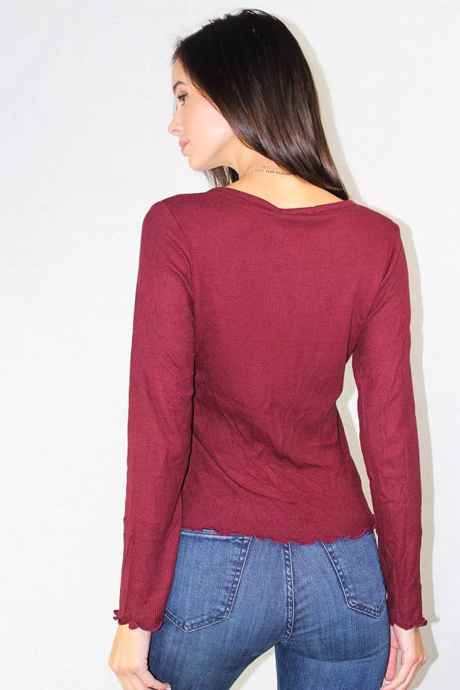 Long Sleeve Deep V Raw Edge Top